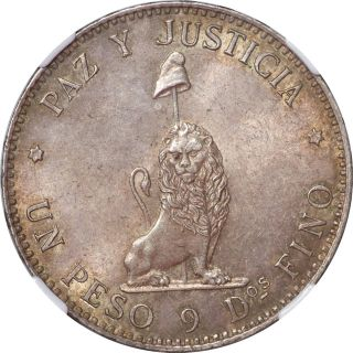Paraguay 1889 Republic Silver Peso Ngc Ms - 62 photo