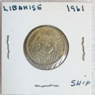 1961 Lebanese 10 Piastres Coin Old Sailing Ship Design photo