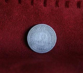 British Honduras 10 Cents 1936 Silver World Coin Rare Low Mintage 30,  000 Belize photo