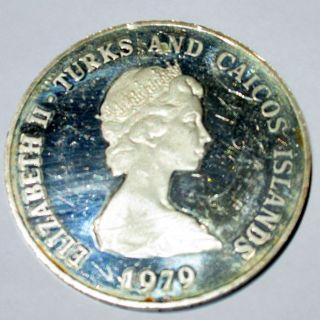 1979 Sterling Silver Turks & Caicos Elizabeth Ii 10 Crowns Coin photo