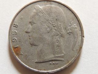 1958 Belgium One Franc Coin photo