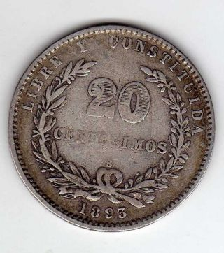 Uruguay 20 Centesimos 1893,  Silver photo