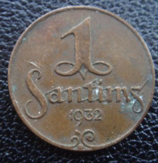 Latvia Letland Lettonia 1 Santims Old Coin 1932 Year Details photo