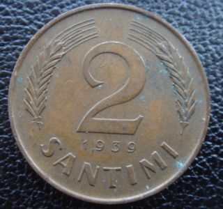 Latvia Letland Lettonia 2 Santims Old Coin 1939 Year Details photo