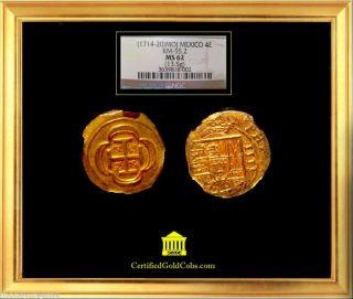 Mexico Gold Coin 1714 4 Escudos Strong Strike Ngc 62 photo