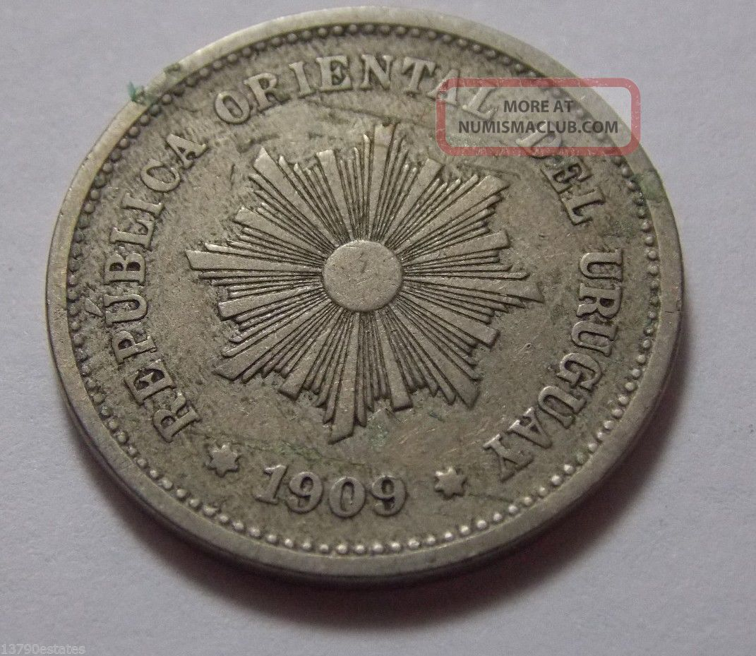 1909 Uruguay 5 Centesimos Coin South America photo