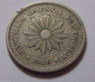 1909 Uruguay 5 Centesimos Coin photo