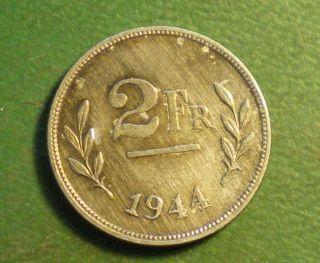 Belgium 1944 2 Francs World War 2 Coin
