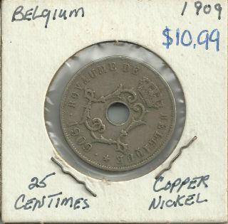 1909 Belgium 25 Centimes Coin Copoper/nickel photo