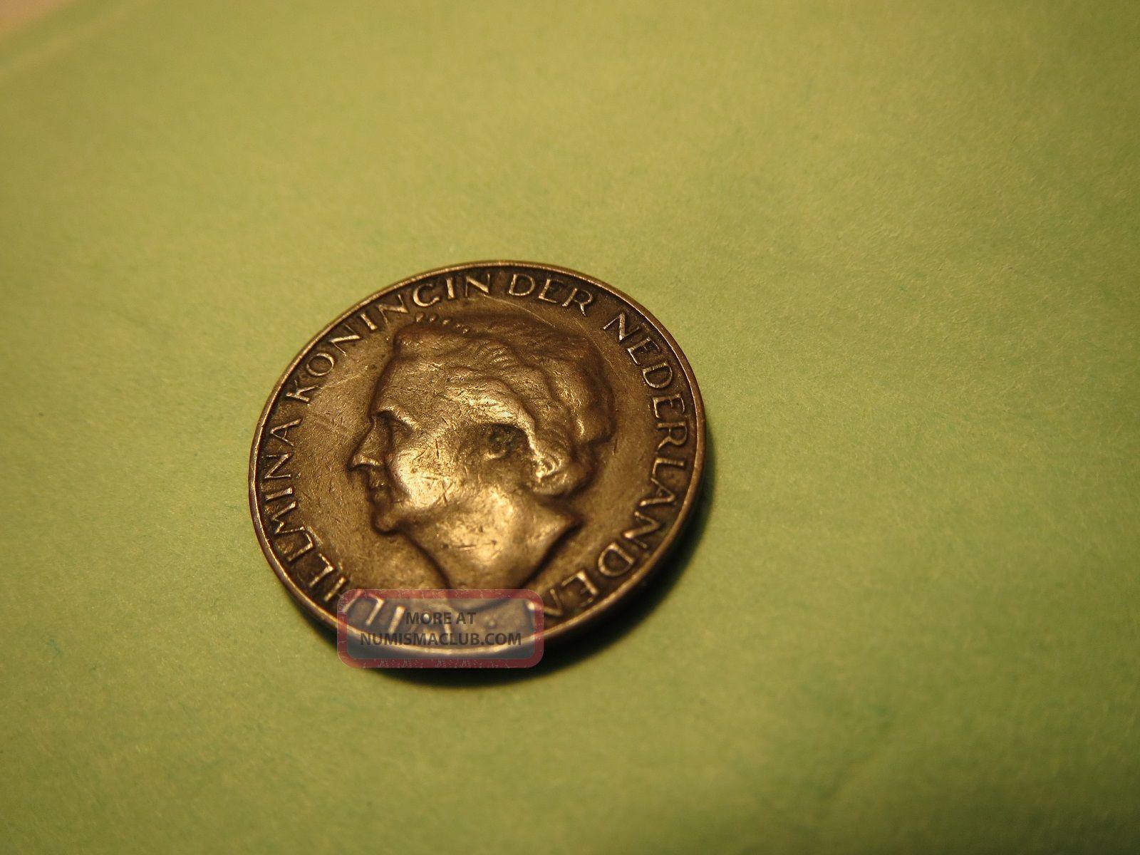 Wilhelmina Koningin Der Nederlanden Netherlands Coin 1948 1 One Cent