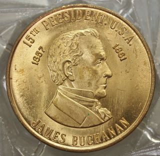 James Buchanan 15th President Of The U.  S.  A.  Brass Collector Token. . .  9536 photo