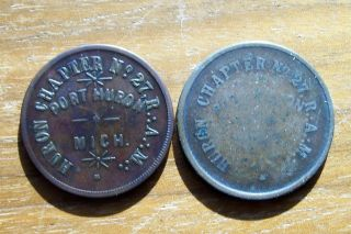 Vintage 2 Diff Masonic Penny Port Huron Michigan Pocket Piece ' S photo