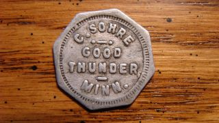 C.  Sohre Good Thunder,  Minnesota Mn 5¢ Trade Token General Store 1909 - 1912 photo