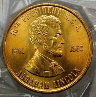 Abraham Lincoln 16th President Of The U.  S.  A.  Brass Collectors Token. . .  10673 photo