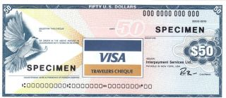 Usa 50 Usd Visa 1987 Specimen Travelers Check Travellers Cheque Gem Unc Look photo