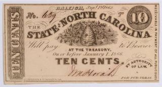 1862 Ten Cent State Of North Carolina St154.  20 photo
