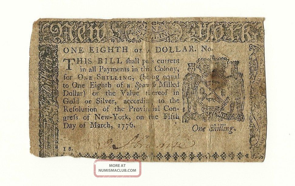 Us 1776 Continental Currency One Eighth Of A Dollar York 1776 Fine+ Paper Money: US photo