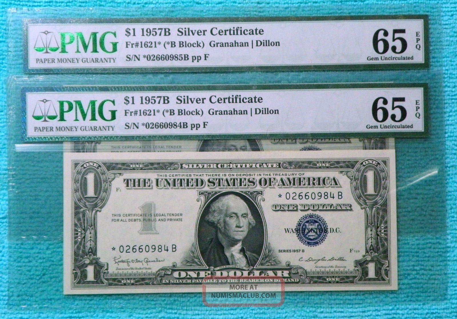Star 2 Consecutive 1957b Uncirculated 1 One Dollar Silver