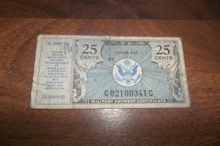 Mpc Note Series 472 25 Cents Military Payment Certificate 1947 1948 photo