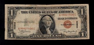 Hawaii 1 Dollar 1935a (1942) Pick 36 Fine. photo