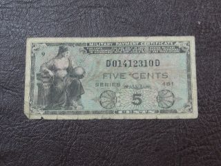 U.  S.  Military Payment Certificate 5 Cents Series 481 photo