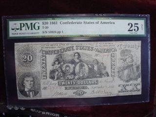 1861 $20 Csa T - 20,  Pmg Very Fine 25 photo