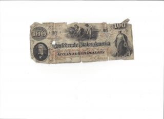 Confederate States Of America $100.  00 Bank Note