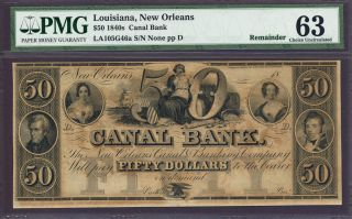 1840s $50 Canal Bank Louisiana,  Orleans Pmg Cu 63 photo
