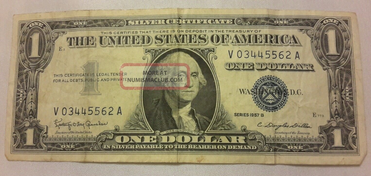 1957 B Circulated One Dollar Silver Certificate Old Paper Money Us Note