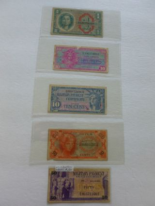 (5) Military Payment Certifiicates 10c - $1.  00 (1954 - 1970) Circulated photo