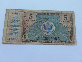 1950 ' S 5c Military Payment Certificate Mpc - Circulated photo