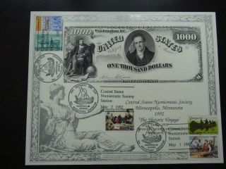 1992 Bep.  Central States Numismatic Society $1000 Note Intaglio Print photo