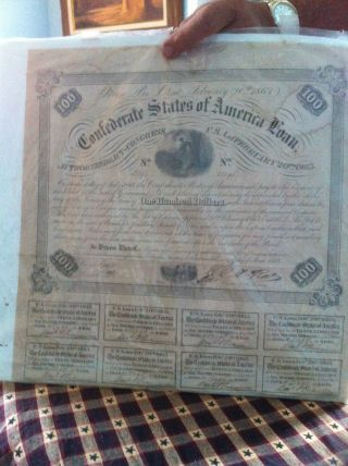 1863 Confederate $100 War Bond photo