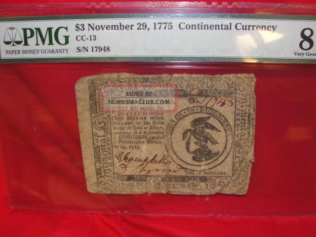 Continental Currency $3 Nov.  29,  1775 Cc - 13 Pmg - 8 Certifiied Very Good Paper Money: US photo