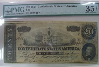 1864 Confederate $20 Note,  Pmg Choice Very Fine 35 56460 photo