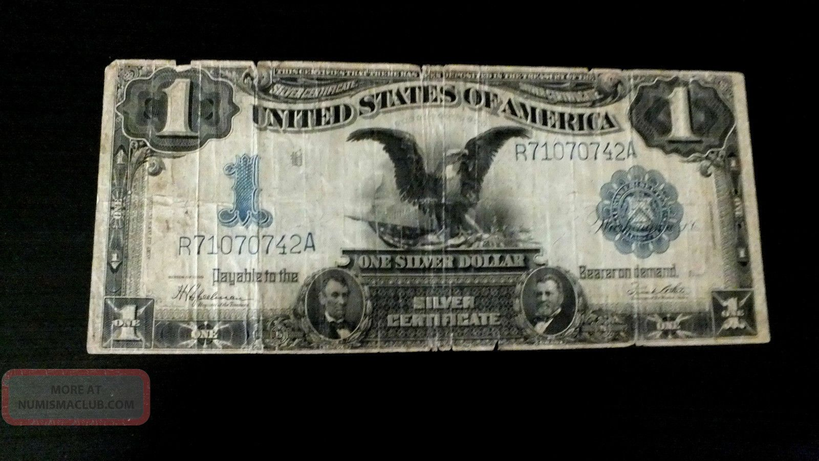 1899 $1 One Dollar Black Eagle Silver Certificate Speelman/white Signed Large Size Notes photo