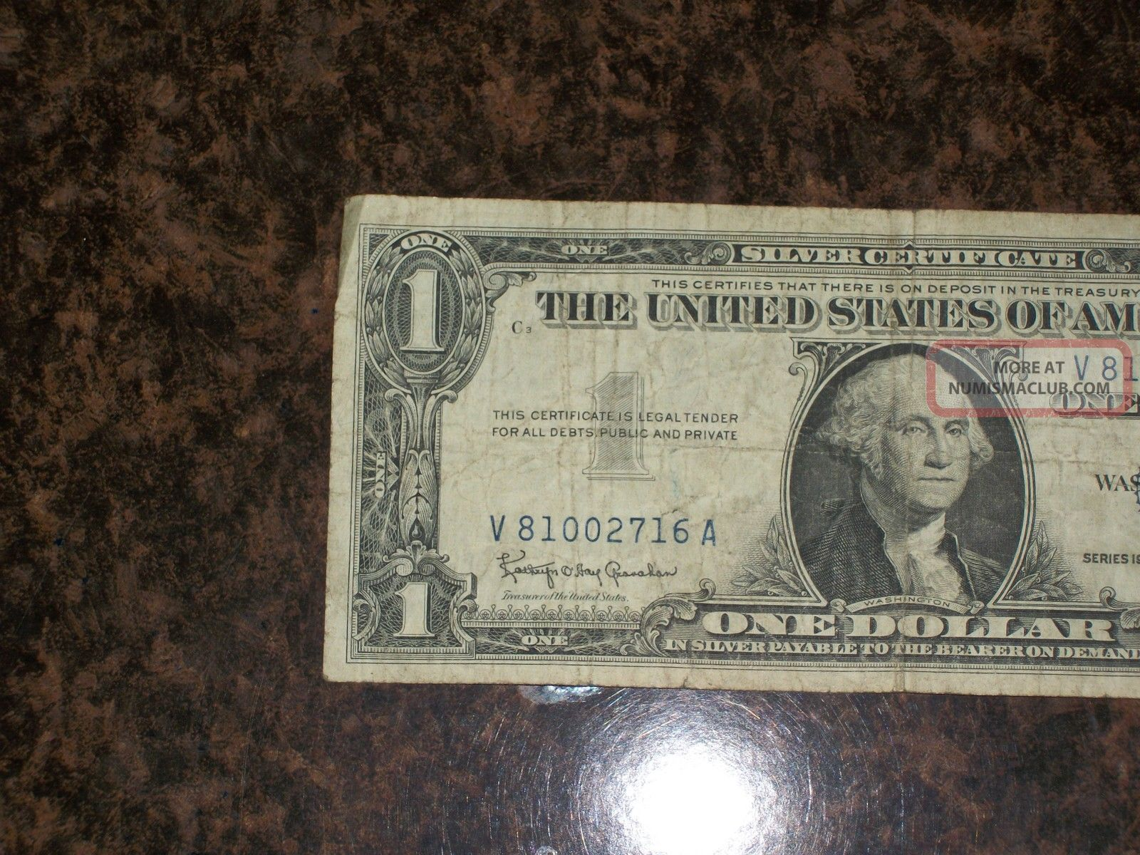 1957 B Star Note One Dollar Us Silver Certificate Old Money 1