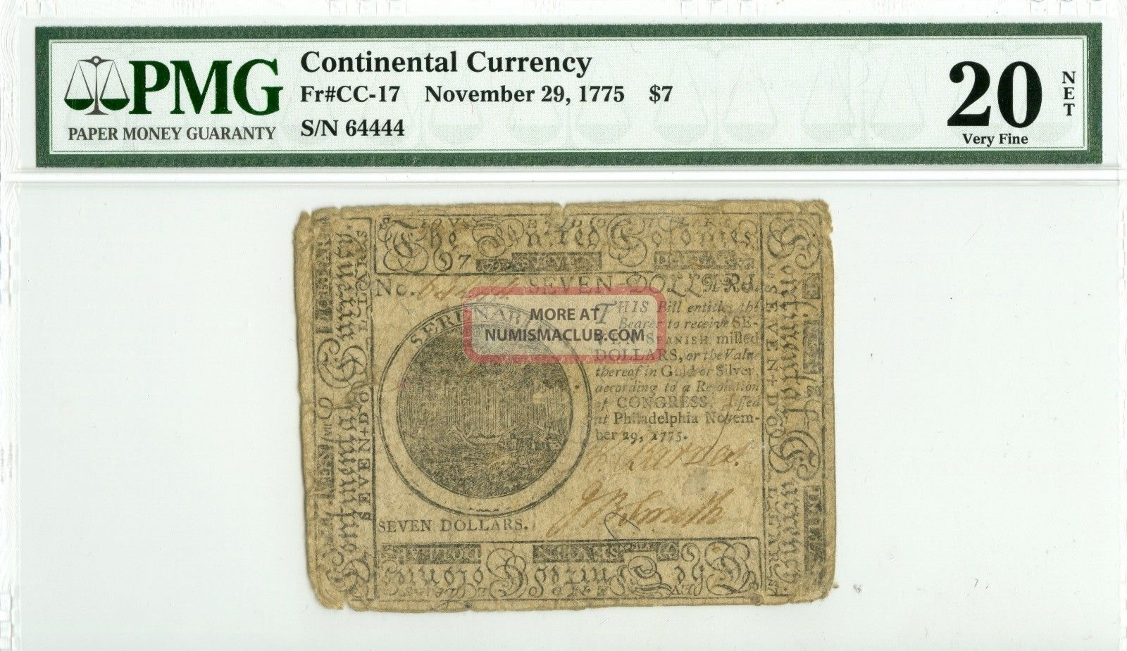 Fr.  Cc - 17 1775 $7 Continental Currency Pmg Vf20 Net Paper Money: US photo