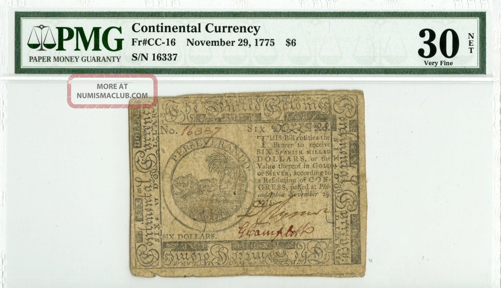 Fr Cc - 16 1775 $6 Note Pmg Vf30 Net Paper Money: US photo