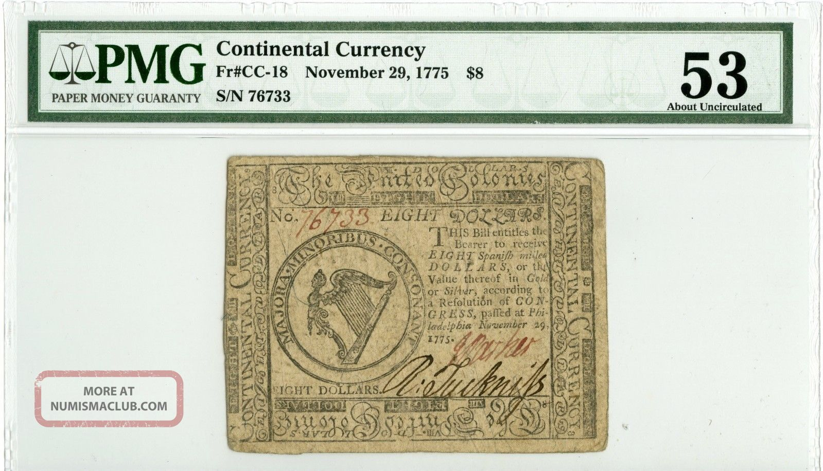 Fr Cc - 18 Continental Currency 1775 Pmg Au53 Paper Money: US photo