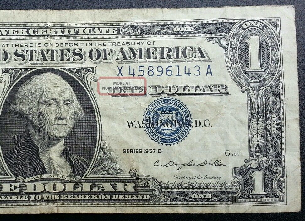 1957 B Silver Certificate Blue Label Seal One Dollar Bill