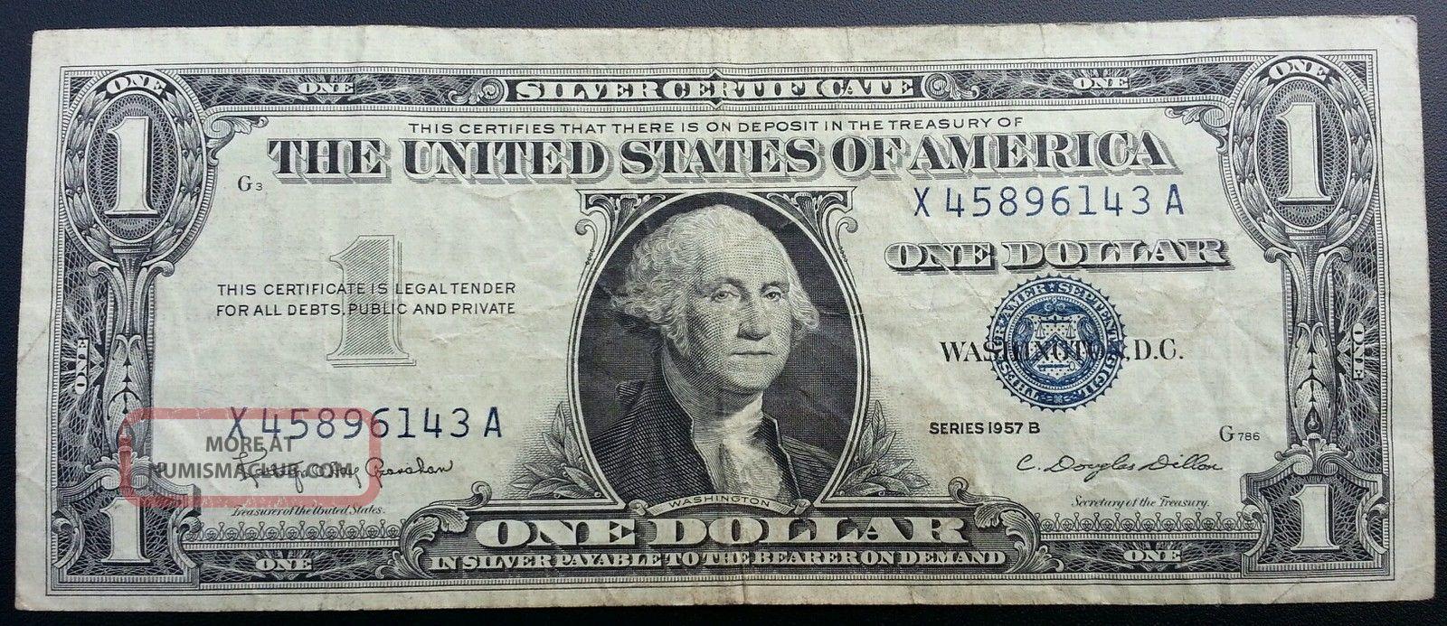 1957 B Silver Certificate Blue Label Seal One Dollar Bill