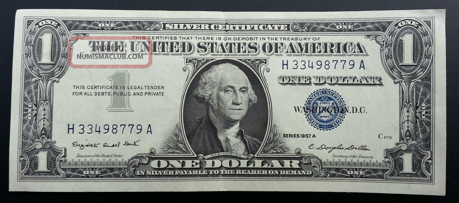 1957 A Silver Certificate Blue Label Seal One Dollar Bill