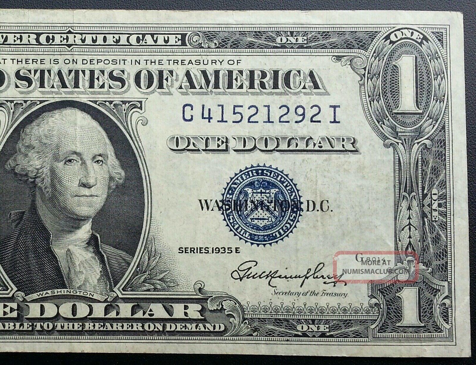 1935 E Silver Certificate Blue Label Seal One Dollar Bill