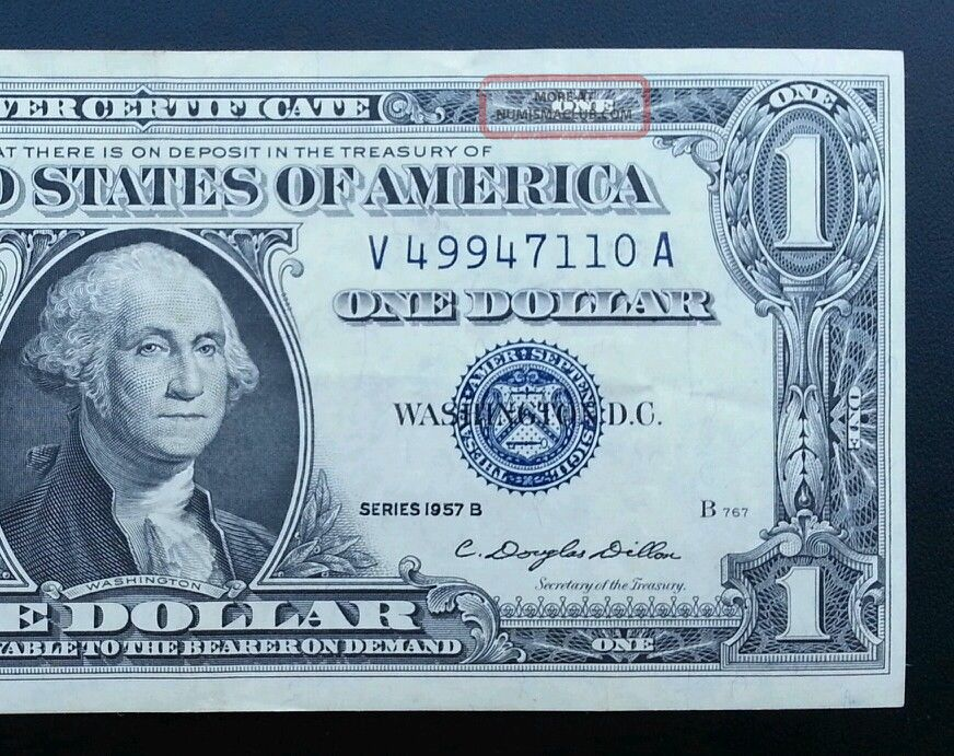 1957 B Silver Certificate Blue Label Seal One Dollar Bill Crisp
