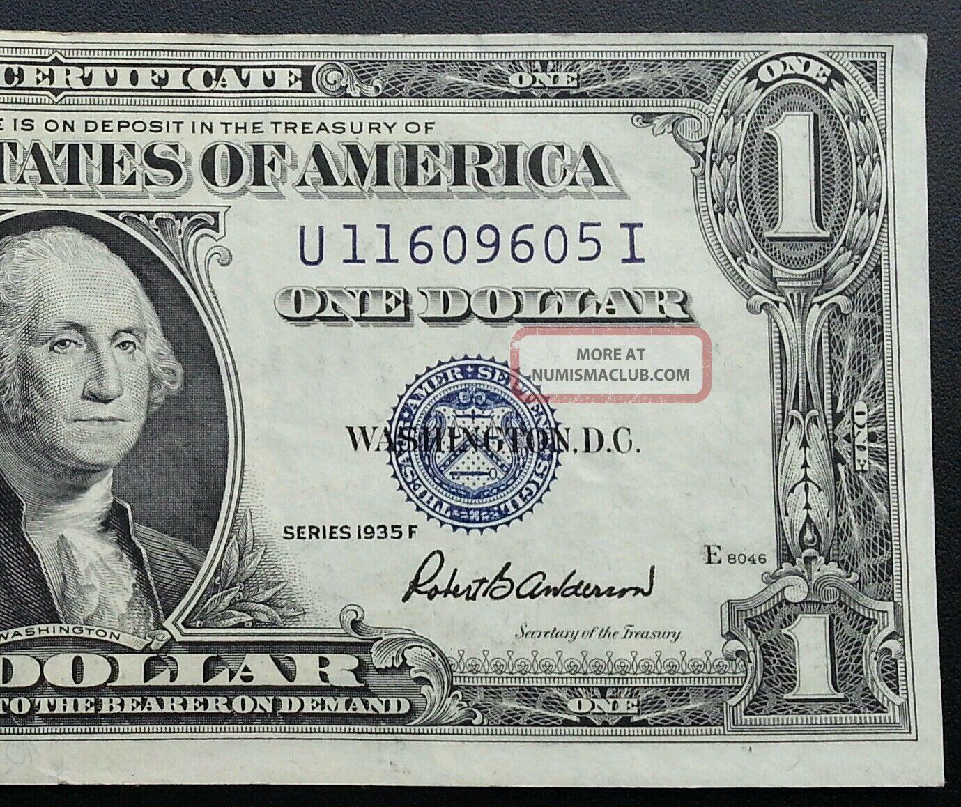 1935 F Silver Certificate Blue Seal One Dollar Bill Unc Crisp Off