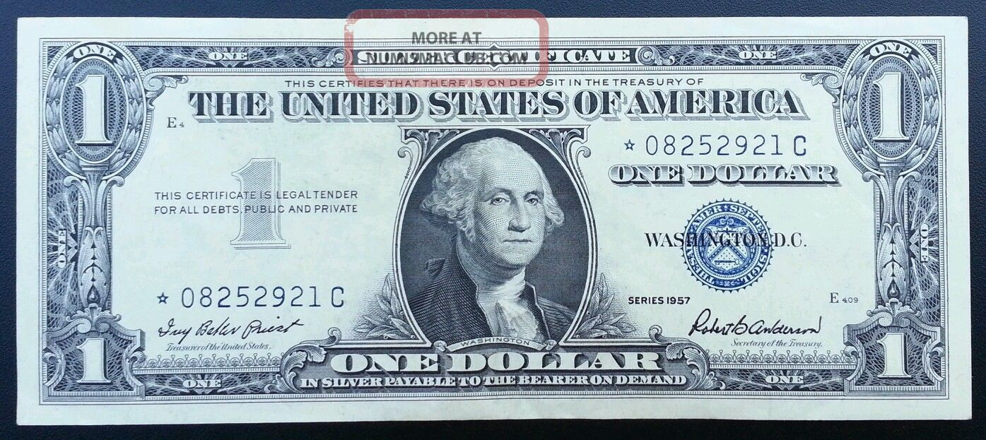 1957 Silver Certificate Star Note Blue Seal Dollar Bill Uncirculated