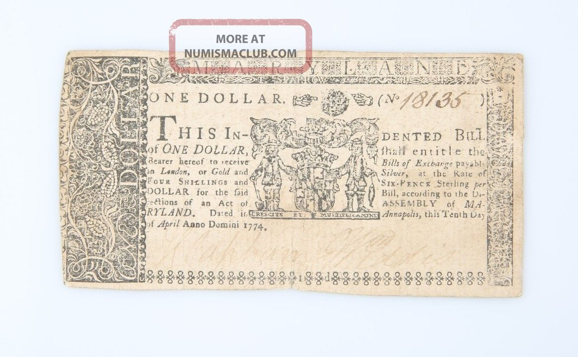 1774 Colonial Maryland One Dollar Note Fr Md - 66 $1 British Colony England Paper Money: US photo