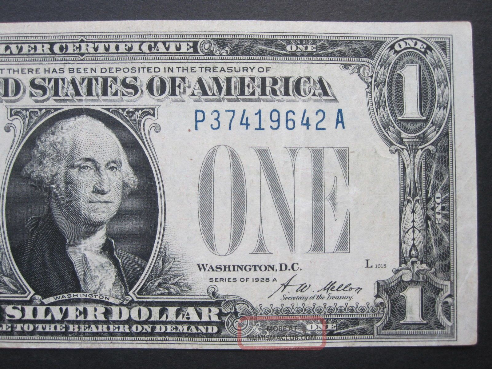 1928 A 1 Silver Certificate Funny Back P A Block Blue Seal Us Money
