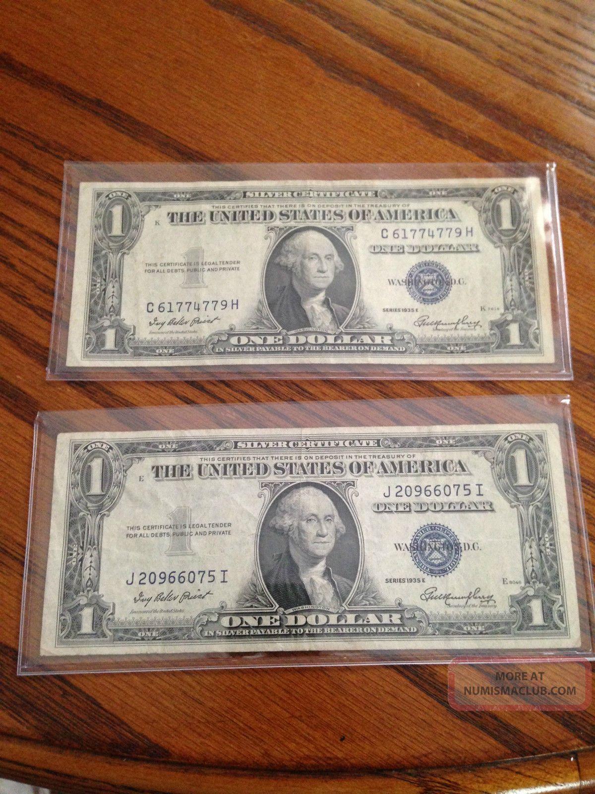 2 1935 E Silver Certificate Blue Label Seal One Dollar Bill